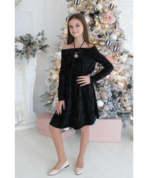 Платье велюровое со спущенными плечами