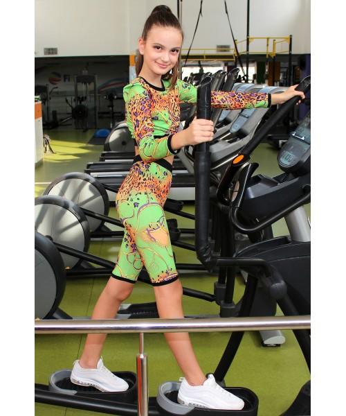 Костюмчик для занятий спортом (рашгард и велосипедки) салатно-оранжевый
