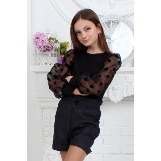 Кофточка чёрная с фатиновыми рукавами