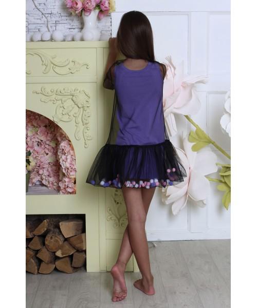Платье-сетка фиолетовое с шариками