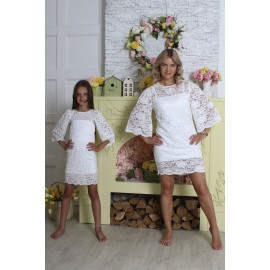 Платье-туника белое гипюровое